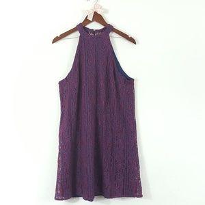 Alya Francesca's Lace Floral Swing Halter Dress L